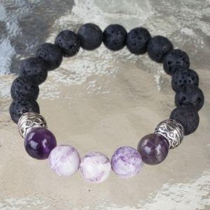 Lepidolite/Amethyst w/Lava rocks bracelet!!